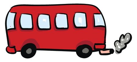 A red bus with six windows and smoke coming out of the rear, vector, color drawing or illustration. Illusztráció