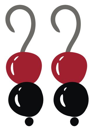 A pair of earrings with black and red stones, vector, color drawing or illustration. Illustration