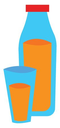 A blue bottle filled with orange juice with a red cap next to a glass filled with orange juice, vector, color drawing or illustration.