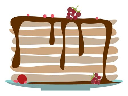 A stack of delicious pancakes with syrup dripping from the top, vector, color drawing or illustration. Ilustracja