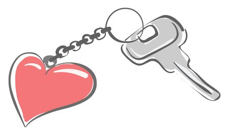 A silver key with a red heart on its keychain, vector, color drawing or illustration.