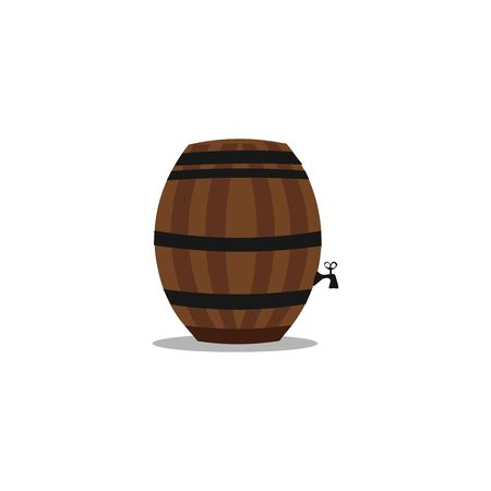 A brown barrel with a black faucet, vector, color drawing or illustration. Ilustracja