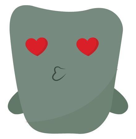 A green monster with hearts for eyes kissing, vector, color drawing or illustration.