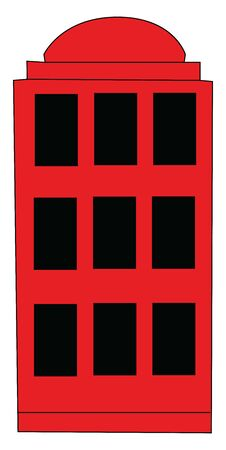 An old red English phone booth, vector, color drawing or illustration.