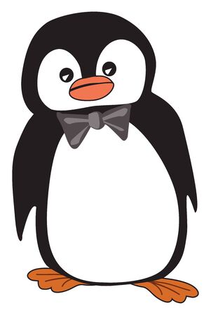 A cute little penguin wearing a gray bowtie, vector, color drawing or illustration.