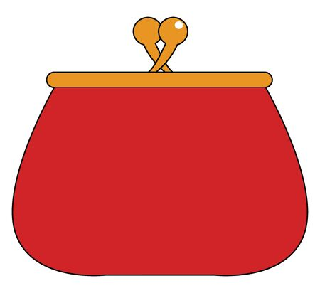 A red purse with a gold clasp used for carrying money, vector, color drawing or illustration. Stock Illustratie