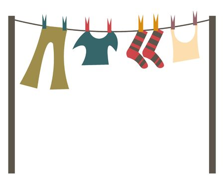 A set of laundry being hung out to dry, vector, color drawing or illustration. Иллюстрация