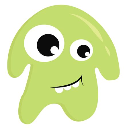 A cute little green monster smiling with three teeth out, vector, color drawing or illustration. Çizim