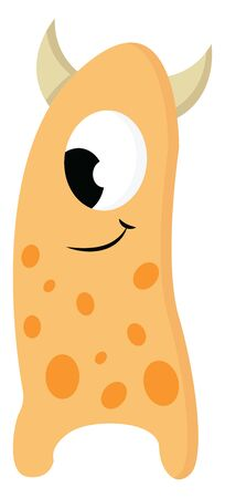 A tall orange monster with one e ye and dark orange spots and horns, vector, color drawing or illustration.