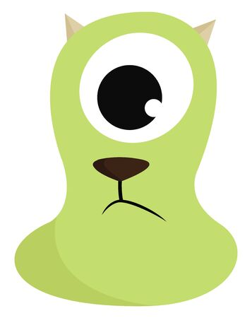 A green monster with one eye and a dogs mouth with horns, vector, color drawing or illustration.