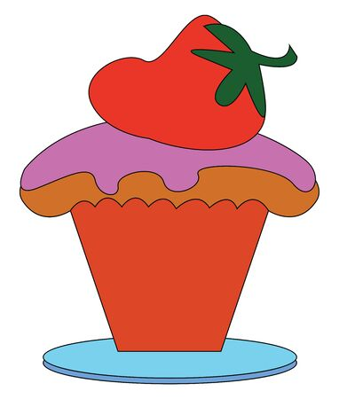 A little strawberry cupcake with a big red strawberry on top, vector, color drawing or illustration.