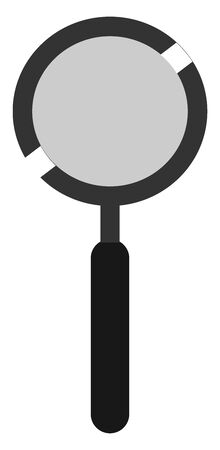 A black magnifier with black handle, vector, color drawing or illustration.