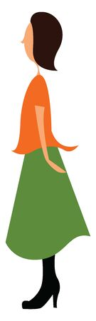 A tall lady wearing an orange top and a long green skirt with black boots, vector, color drawing or illustration. Çizim