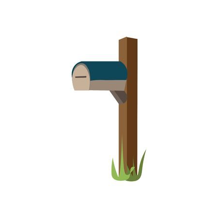 A light brown mailbox with a blue top attached to a dark brown post, vector, color drawing or illustration. Illustration