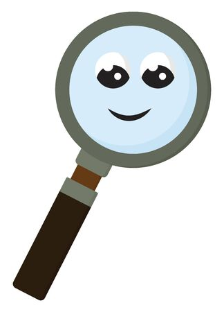A smiling magnifying glass with brown handle, vector, color drawing or illustration. 일러스트