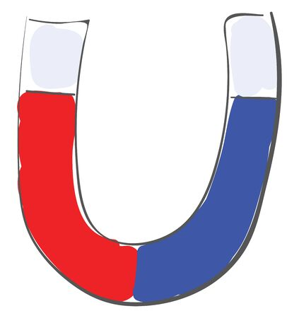 A red and blue magnet horseshoe shaped magnet, vector, color drawing or illustration.