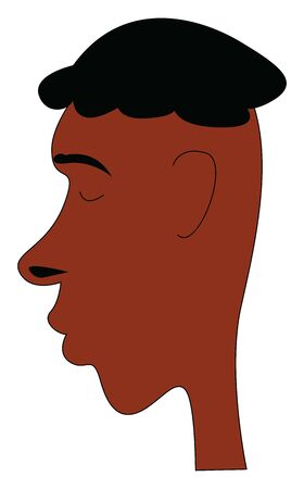 A dark man with a long nose and black curly hair, vector, color drawing or illustration.