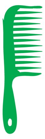 A green hair comb with handle and a hole on it, with sharp teeth, vector, color drawing or illustration.