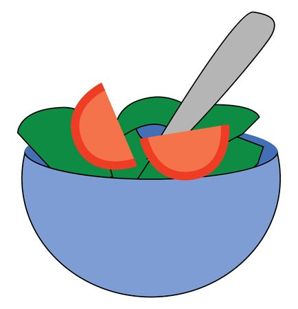 A bowl of healthy salad with green and red veggies, vector, color drawing or illustration.