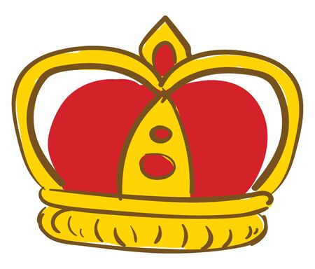 A golden kings crown with red base and red stones, vector, color drawing or illustration.