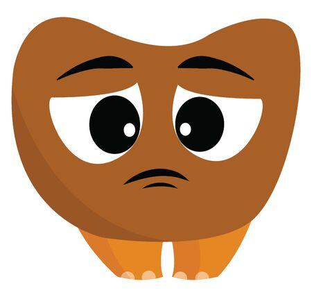A sad brown monster, vector, color drawing or illustration.