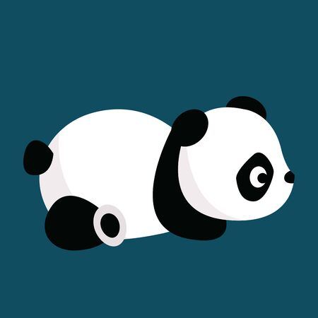 A cute little black and white panda lying down on its belly, vector, color drawing or illustration. Illusztráció