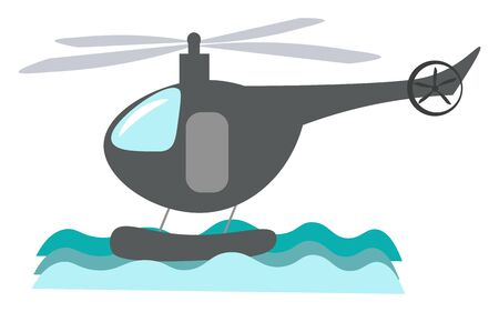 A gray helicopter flying on the sky with propeller, vector, color drawing or illustration.