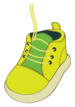 A yellow-green keds shoes with lace, untie, vector, color drawing or illustration. Иллюстрация