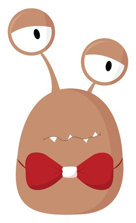 A dazed brown slug like monster wearing a red bow, vector, color drawing or illustration.