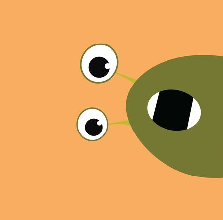 A green monster with mouth wide open with a peach background, vector, color drawing or illustration.