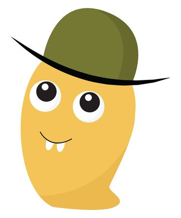 A yellow slug like monster wearing a green hat, vector, color drawing or illustration. Illustration