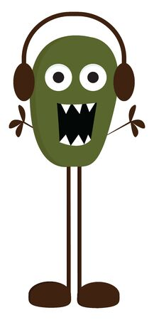 A tall green monster with long brown legs wearing headphones, vector, color drawing or illustration.