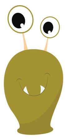 A green monster with two fangs and two antenna eyes, vector, color drawing or illustration.