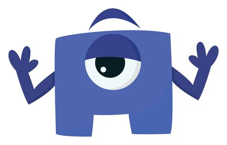A blue block shaped monster with one eye raising both hands, vector, color drawing or illustration.
