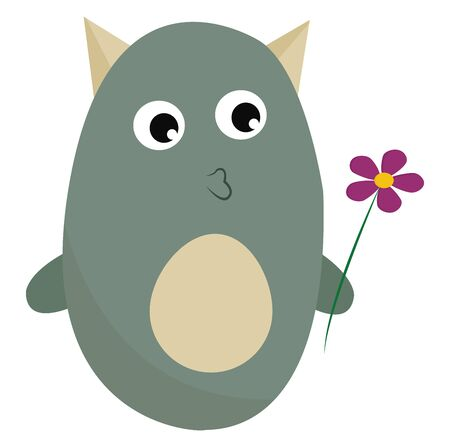A green monster with horns kissing to a purple flower, vector, color drawing or illustration. Illustration