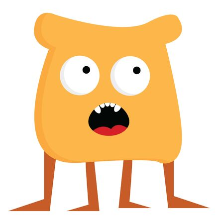 A brown bread shaped monster with four legs, vector, color drawing or illustration.