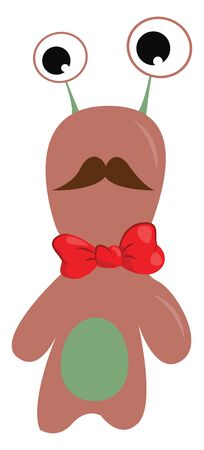 A pink monster with a green belly and a brown mustache wearing a red bow, vector, color drawing or illustration.