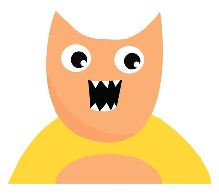A cute happy monster with scary pointy teeth with his mouth open, vector, color drawing or illustration.