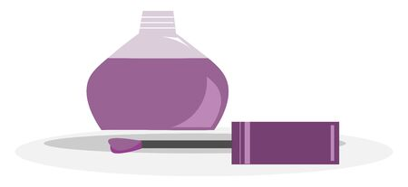 A bottle of purple nail polish with the brush pulled out, vector, color drawing or illustration.