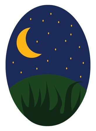 An illustration of the night sky with the crescent moon and stars, vector, color drawing or illustration. Ilustração