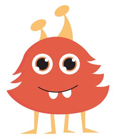 A cute red hairy monster with four legs, vector, color drawing or illustration.