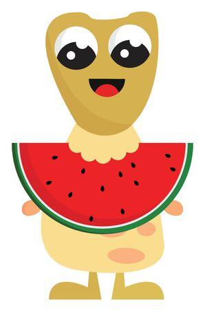 A cute yellow monster eating a fresh red watermelon with a lot of seeds, vector, color drawing or illustration.