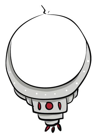 A beautiful silver necklace with white and red stones, vector, color drawing or illustration.