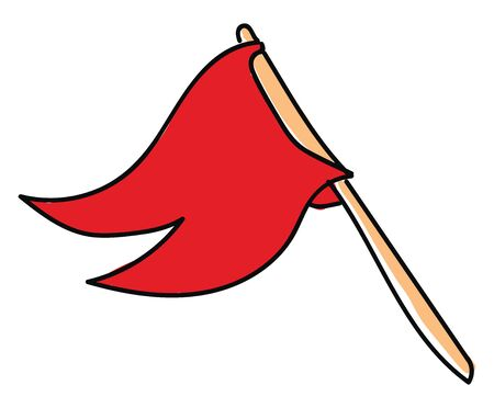A red flag on a brown flagpole, vector, color drawing or illustration.
