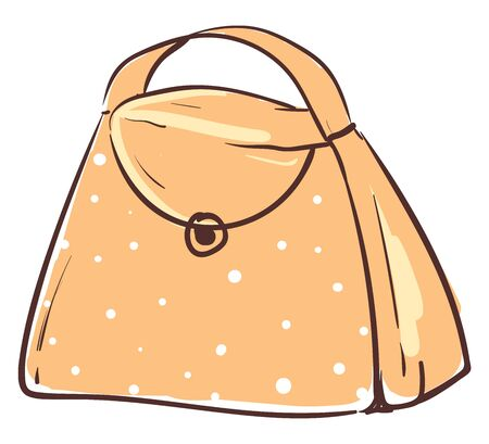 An orange bag with a snap lock and white dots, vector, color drawing or illustration. Ilustração