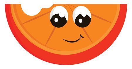 A happy orange slice with a bite, vector, color drawing or illustration.