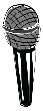 An illustration of a black microphone, vector, color drawing or illustration. Ilustrace