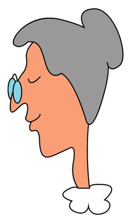 An old woman with gray hair wearing blue round glasses, vector, color drawing or illustration.