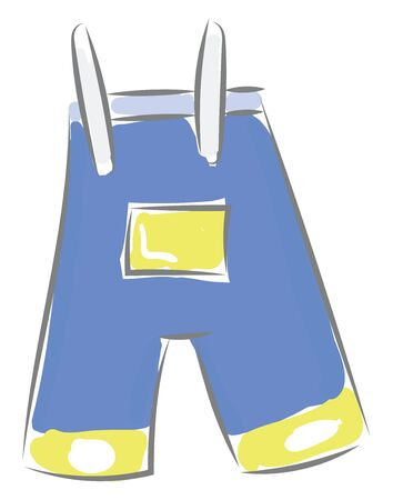 A pair o blue overalls with a yellow pocket, vector, color drawing or illustration.