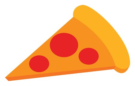 A yellow pizza slice with red toppings, vector, color drawing or illustration. Ilustração